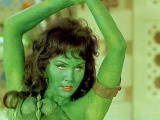 Green lady after spray tan
