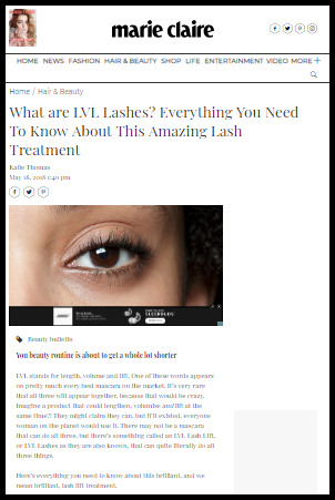 LVL Lash lift experience in a magazine blog